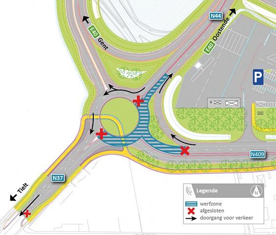 thumbnail-Veel hinder verwacht bij heraanleg rotonde Tieltsesteenweg in Aalter
