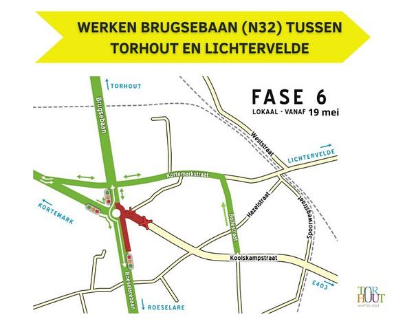 thumbnail-De Brugsebaan (N32) tussen Torhout en Lichtervelde vanaf 19 mei terug open in beide richtingen.